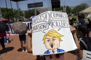 President Donald Trump var inte välkommen till El Paso. AP Photo/Andres Leighton)