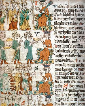 Den nyfunna inkunabeln från Sundsvall förvaras nu hos Kungliga biblioteket. Här en handskrift av samma bok, Eike von Repgows