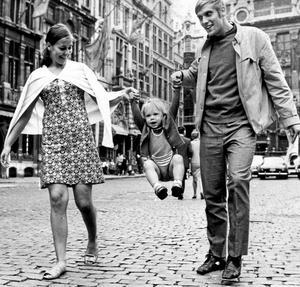 Familjetrio. Gittan, Stefan och Thomas under proffstiden i Bryssel.