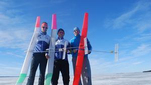 Norbergs F1A flygare i Finland, Robert Hellgren, Per Findahl och Kosma Huber.