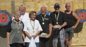 Tönnångers segrande lag Inga Norin, Majly Frisk, Anki Hedberg, Sven-Erik Rosén, Per Gustafsson o Morgan Karlsson.