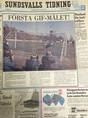 Sundsvalls Tidning dagen efter premiären mot Örgryte 1975. Färg och allt.