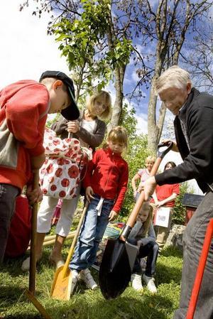 Spadarna i jorden. Oliver Forsström, landshövding Barbro Holmberg och rektorn Leif Brink hjälps åt.