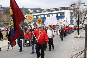 Demonstrationen i Sollefteå lockade ganska många människor på första maj.