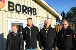 Borab-kvartett. Frida Löberg, informatör, Håkan Andersson, renhållningschef, Dan Nordin, vd och Magnus Westlin, projektledare.