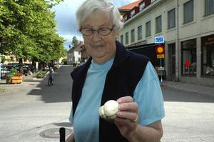 Svamp. Även i år hittade Ellen Hansson Nygårds äkta champinjoner mitt i centrala Säter. Foto:Berndt Norberg
