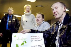 Stig Forslin, Hudik Taxi, Marie Lemnert, Hudiksvalls Trafikskola, Thomas Jansson, Wadéns Trafikskola och Mats Nylander, Hudiksvalls kommun, visa på att det finns hjälp att få mot rökberoendet.