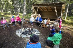 Centralskolan har låtit bygga ett vindskydd och en eldstad i sin skolskog.