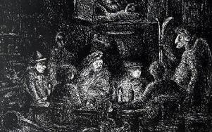 Dante besöker Falu Konstgrafiska Verkstad, en parafras på Axel Fridells Den gamla antikvitetshandeln. Etsning av Staffan Svensson 1987. Här är det inte konstigt att möta Staffan Kihlgren, Anna-Lisa Elfwén, Rembrandt, Axel Fridell med flera. Foto: Staffan Björklund