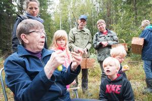 Ulla Jansson kan det mesta om svampar och är bra på att fånga andras intresse. Här på Friluftsfrämjandets svampuflykt i Skinnskatteberg 2017.