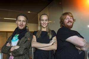 De tre finalisterna Simon Zion, Amanda Winberg och Martin Almgren.