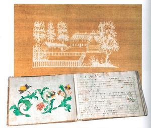 Damastväv till stolklädsel vävd av Sigrid Johanna Edvall (1804–1885), Ovikens socken. Hon var en skicklig väverska, en så kallad