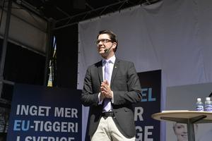 Partiledaren Jimmie Åkesson talade vid Sverigedemokraternas EU-valupptakt på Långholmen i Stockholm i slutet av april.