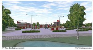 En skiss av den nya Ica Maxi-butiken på Tybble.