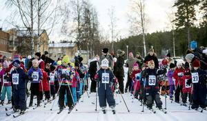 Runt 70 åkare ställde upp i Lilla Vasaloppet på ängen i Sidsjö.