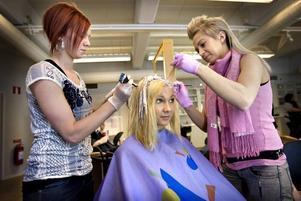 Från brunett till blond. Emma Karlsson förvandlades till pastellblond av Sofie Hännestrand och Sanya Keränen. På tisdag är Emma Karlsson en av 80 modeller som deltar i frisörelevernas modeshow på Gävle teater.