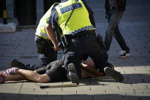 En motdemonstrant omhändertogs av polisen.