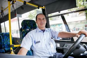 Kamel Layouni körde innerstadsbussar under första dagen.