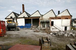 Så här såg den gamla armaturfabriken i Norrtälje ut strax innan byggnaden gick förlorad.
