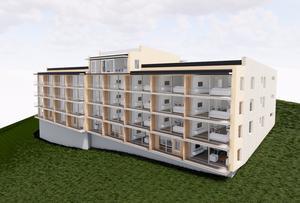 En skis som visar hur Prepart vill bygga det nya huset med drygt 30 -lägenheter. Bild: Prepart