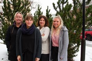 Marie Larsson, enhetschef, Nora Selin, socialsekreterare, Soraya Aloush, specialistsocionom och Emelie Widmark, socialsekreterare arbetar för att unga i Ljusdals kommun ska känna sig tryggare.
