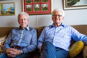 Nu återstår en investering på 900 000 kronor i en duschanläggning till lägergården berättar Jan Bäck, Hudiksvall, tillsammans med Nikolai Shevchuk.
