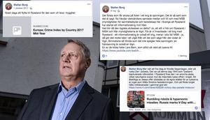 Bilden är ett montage. Bilden på Stefan Borg kommer från TT medan skärmdumparna är postningar på Facebook.