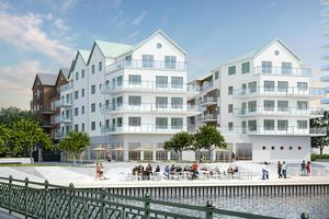 En tidpunkt är satt för de allra första invånarna att flytta in i det allra första bostadshuset, Hamnhus 1, i den nya stadsdelen Norrtälje Hamn. Illustration: Sweco