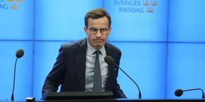 Ulf Kristersson (M) på tisdagens pressträff, när det var halvtid i hans sonderingsuppdrag för att bilda regering. Foto: Anders Wiklund/TT