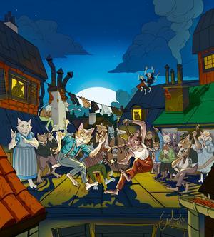 Illustratör Emil Maxéns bild av dansande katter i musikalen Pelle Svanslös.