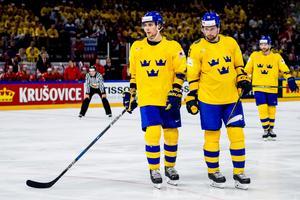 Adrian Kempe och Filip Forsberg under matchen mot Ryssland i 2018 års hockey-VM. Bild: Ludvig Thunman/Bildbyrån