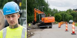 Didrik Bäclin är orolig över sitt och medarbetarnas liv. Han tycker att det är obehagligt när bilister kör för fort vid vägarbete.