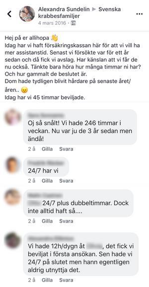 Inlägg på Facebook från föräldrar som berättar att de får hjälp av Försäkringskassan till barn med samma diagnos som William i Borlänge.