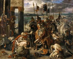 Korsfarare intar Konstantinopel, kristenhetens största stad, 1204. Målning av Eugène Delacroix från 1840.
