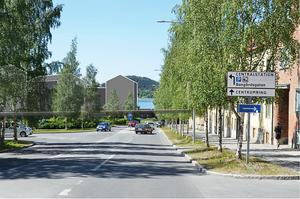 Huset nedanför Gränsgatan har flyttats sex meter och blivit en våning lägre i senaste planförslaget. Så här blev resultatet. Illustration: Sweco Architects