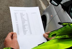 Thure Järlehag studerar den långa listan på grusvägar som ska skyltas för att stoppa den tunga trafiken.