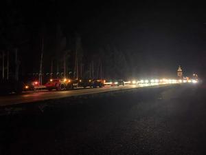 Det uppstod långa köer under olyckan på riksväg 84