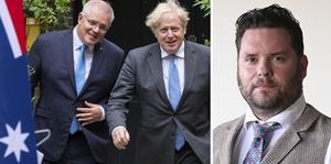 Australiens premiärminister Scott Morison och Boris Johnson, premiärminister i  Storbritannien. Foto: Dominic Lipinski/AP.