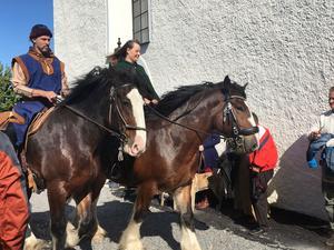 Shirehästarna Jackson och Brutus ingick i brudföljet tillsammans med Thomas Ahlgrimm och Anna Busse.