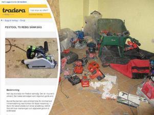 Några av de verktyg som fanns i en lokal i Fagersta som tre av männen använt som hälericentral tidigare. För dessa brott dömdes de hösten 2017  till mellan fem och tio månaders fängelse. Foto: Polisen/montage