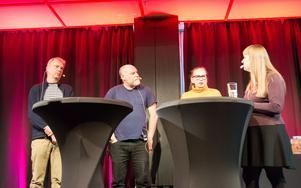 Tre internationellt kända deckarförfattare i samtal med Kerstin Bergman under deckarfestivalen: Jesper Stein, Alan Parks och Yrsa Sigurdardottir.