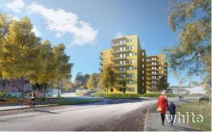 Två flerfamiljshus vid Karlfeldtsgatan stoppas. Bild: White arkitekter