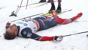Petter Northug, utslagen efter målgång i Drammen.