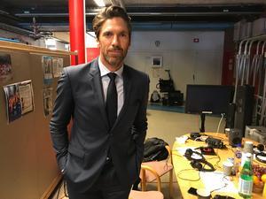 Henrik Lundqvist i Scaniarinken under inspelning av ny reklamfilm.