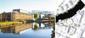 En gångbana längs Svartån ska göra det lätt att röra sig mellan Östra Bangatan och Vasaplatsen. Grönytor med träd och planteringar, trädäck, och sittgradänger bildar kant mot ån. Illustration till vänster: Wingårdh arkitektbyrå. Illustrationen till höger: Örebro kommun