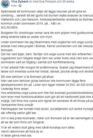 Skärmdump från Ylva Dybecks Facebook.