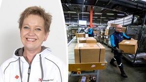 Jaana Pålsson (till vänster) tycker det är alarmerade att de anställda på e-handelsföretag känner sig stressade på jobbet – och att de flesta företag saknar kollektivavtal. På bilden till höger ser du Johan Amundson och Andreas Sjöström (i glasögon) som sorterar paket på Postnord. Bild: Pressbild och Eva-Lena Olsson.
