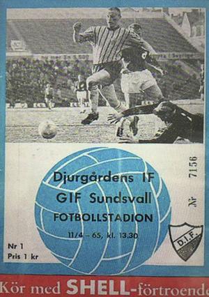 En krona kostade biljetten till den allsvenska premiären mellan Djurgården och GIF Sundsvall 1965.
