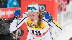 Maria Nordström kan få svårt att få en OS-plats efter dagens tävling i Planica. Bild: Terje Pedersen/TT.