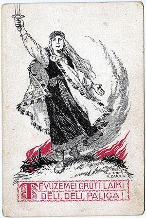 Lettisk propagandabild av Rihards Zariņš från första världskriget. På lettiska står det: